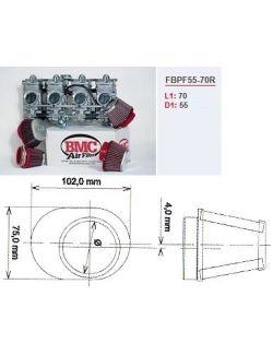 Filtre conique carburateur moto BMC droit chrome Diam 55 mm