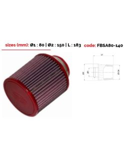 Filtre conique univ. BMC Single Air Top en métal diam 80 mm