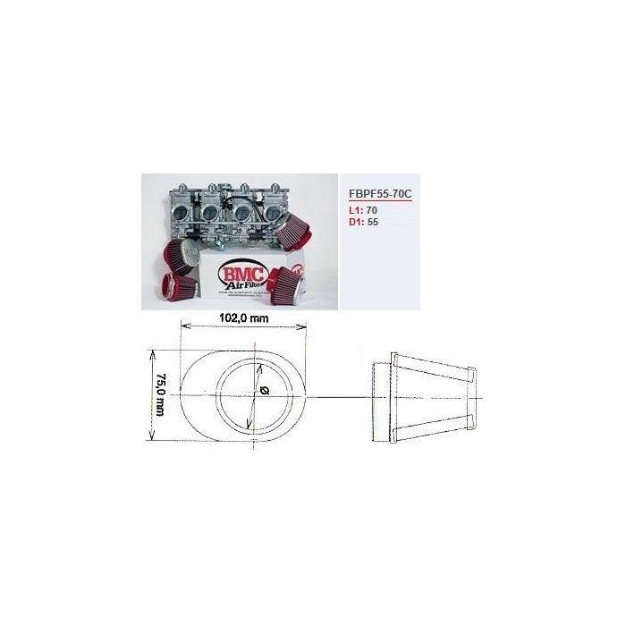 Filtre conique carburat. moto BMC chrome central Diam 55 mm