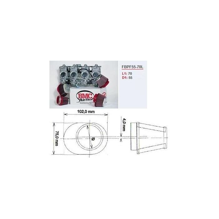 Conisch luchtfilter carburator motor BMC chroom links 55 mm